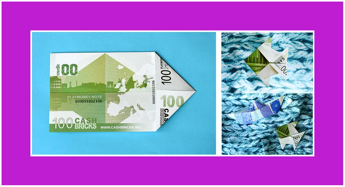 Geldscheine falten Anleitung Fisch 02