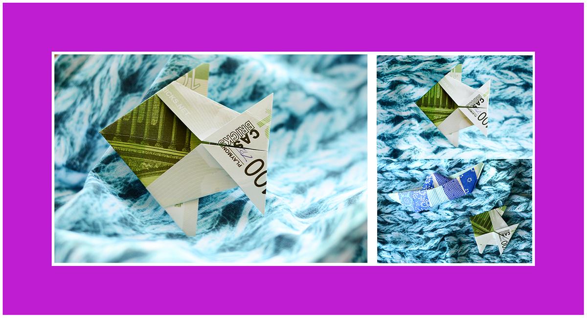 Geldscheine falten Anleitung Fisch Kommunion Konfirmation