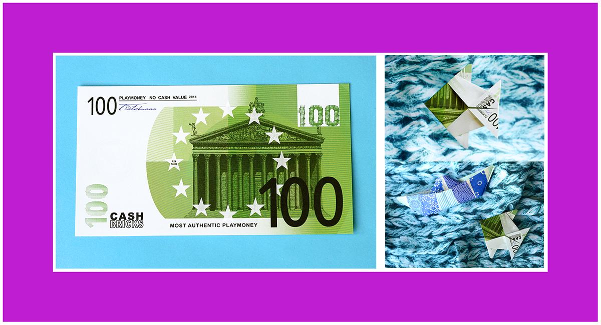 Geldscheine falten Anleitung Fisch