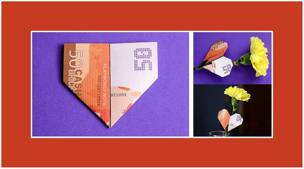 Geldscheine falten Anleitung Herz zum Valentinstag