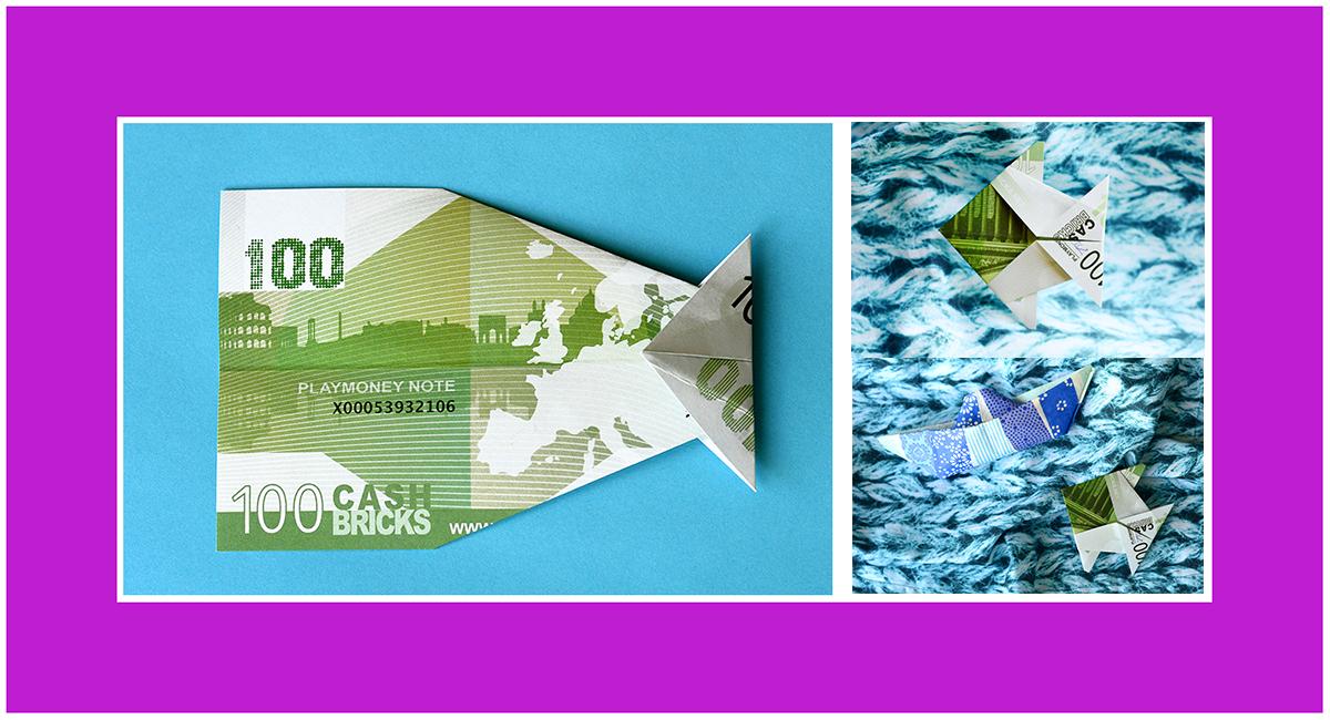 Geldscheine falten Fisch Kommunion