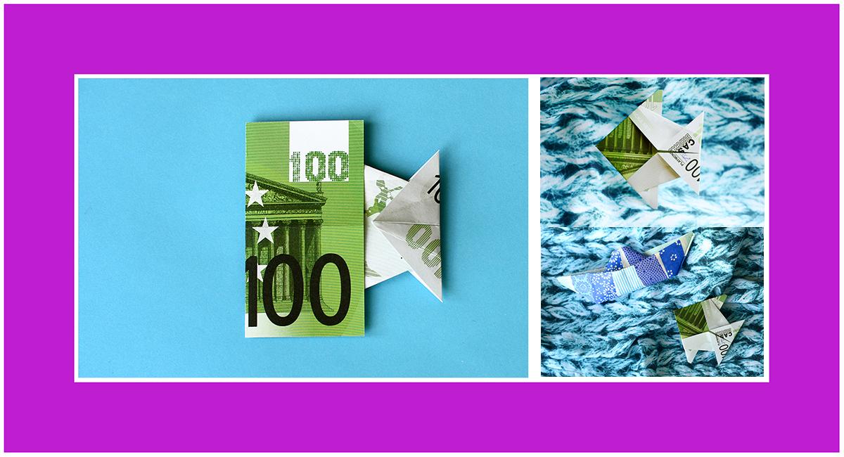 Geldscheine falten Fisch Konfirmation