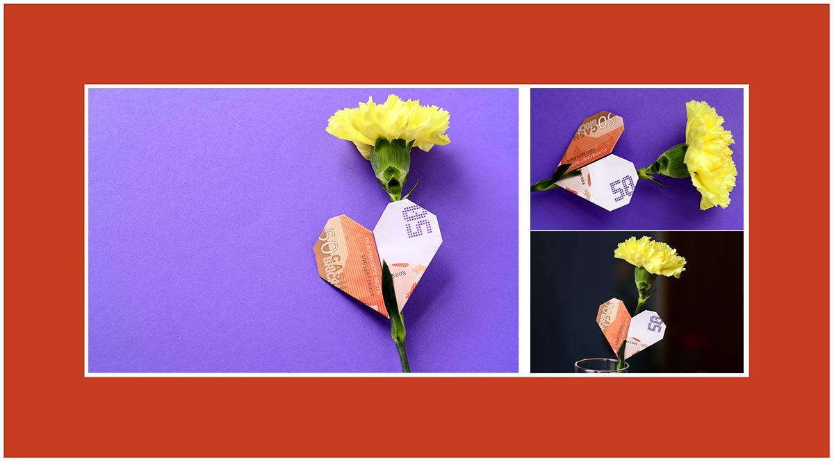 Geldscheine falten Herz Valentinstag 50 Euro