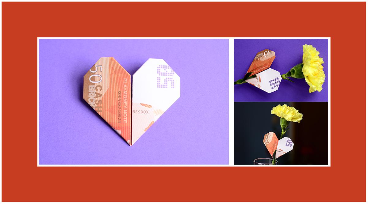 Geldscheine falten Valentinstag Herz