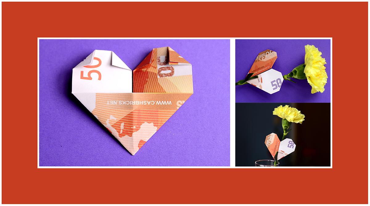 Geldscheine falten zum Valentinstag