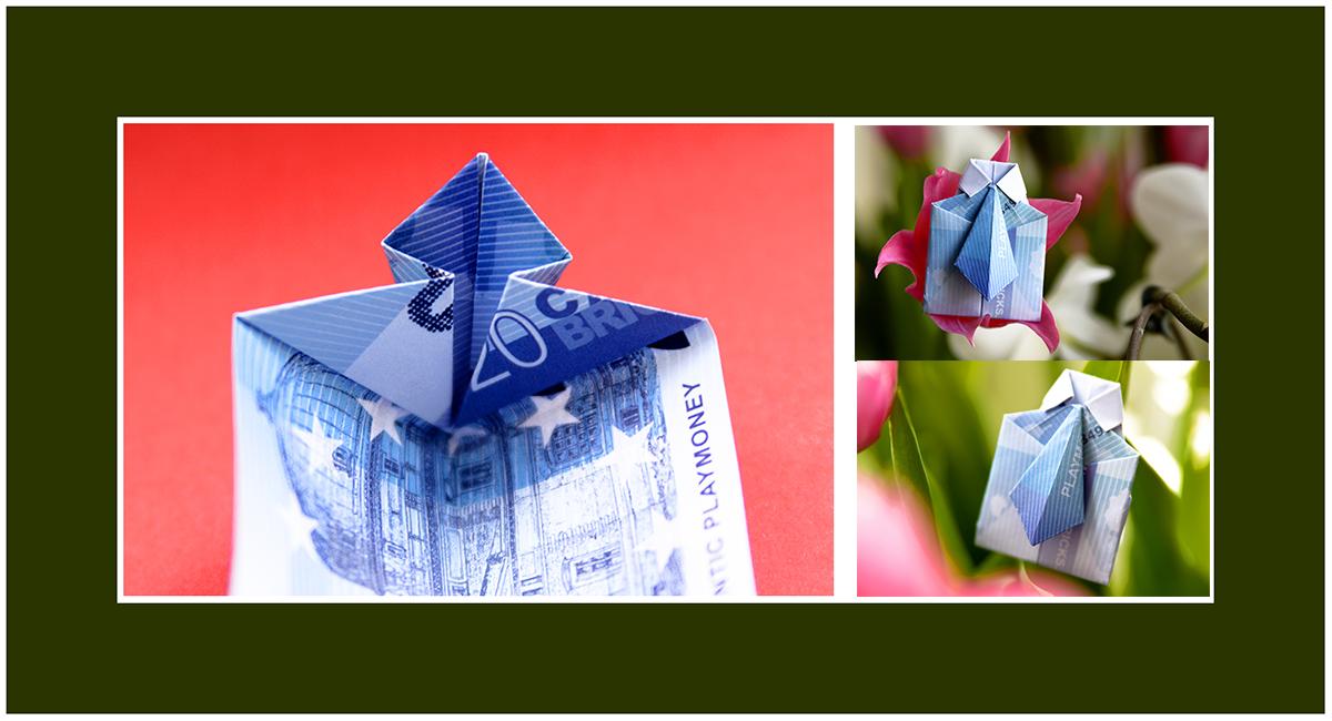 Geldschein falten Hemd mit Krawatte