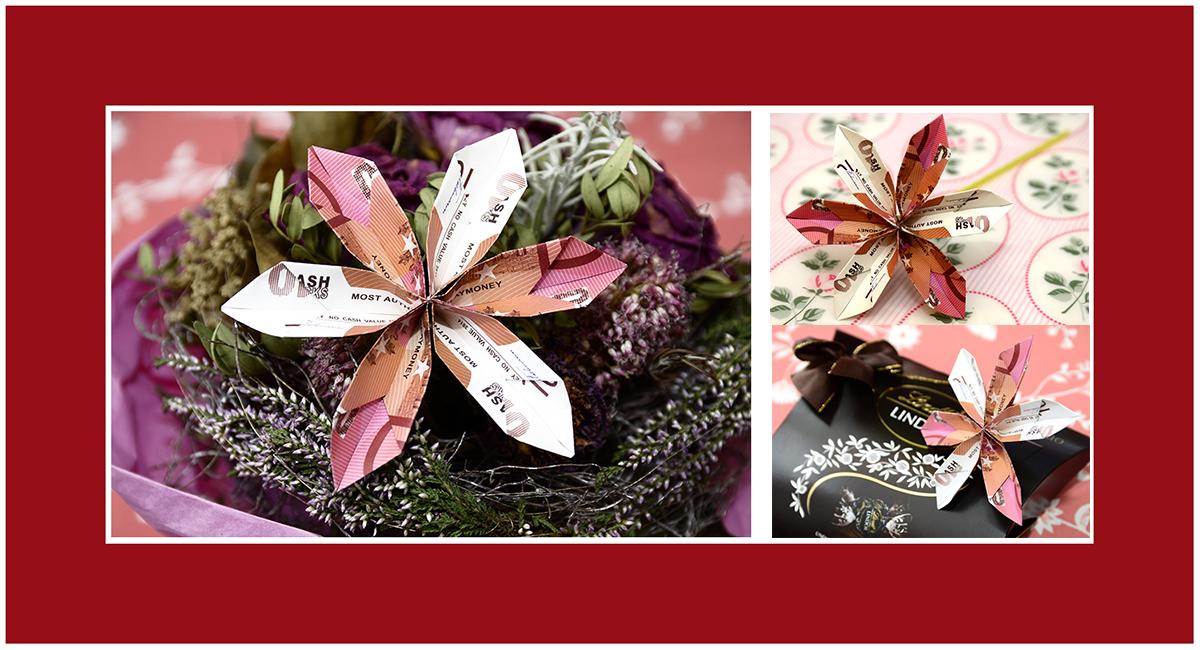 Geldscheine falten Blume 02