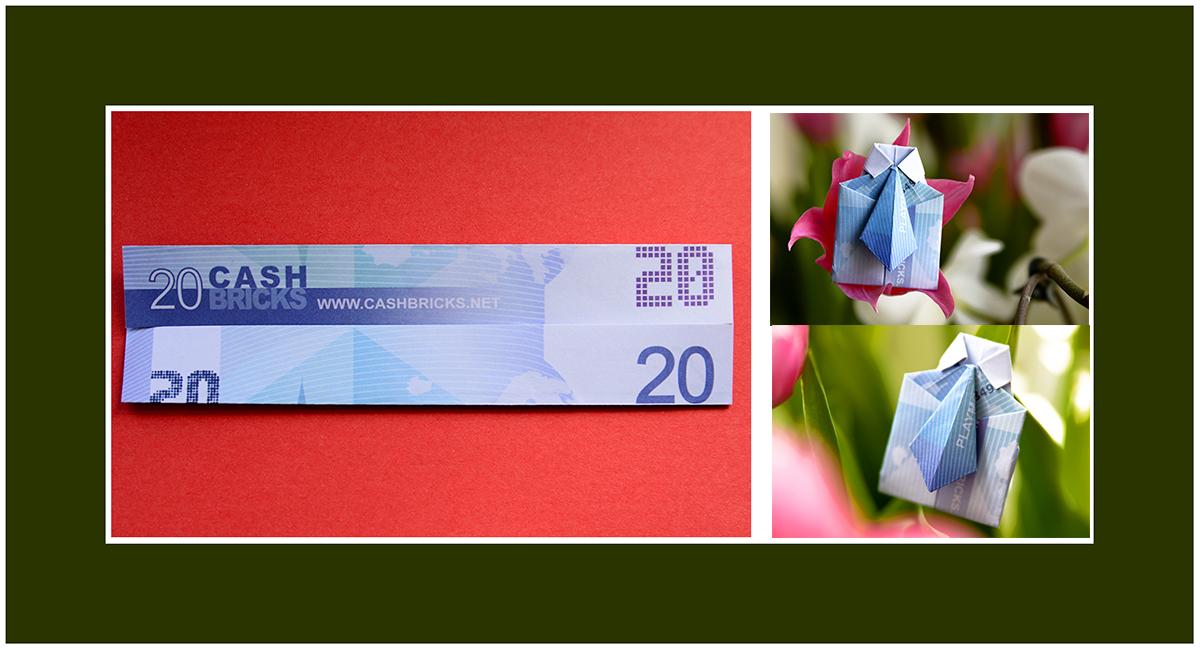 Geldscheine falten Hemd mit Krawatte 03