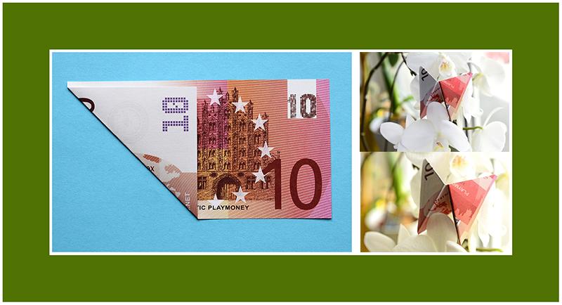 Geldschein falten Anleitung Schmetterling