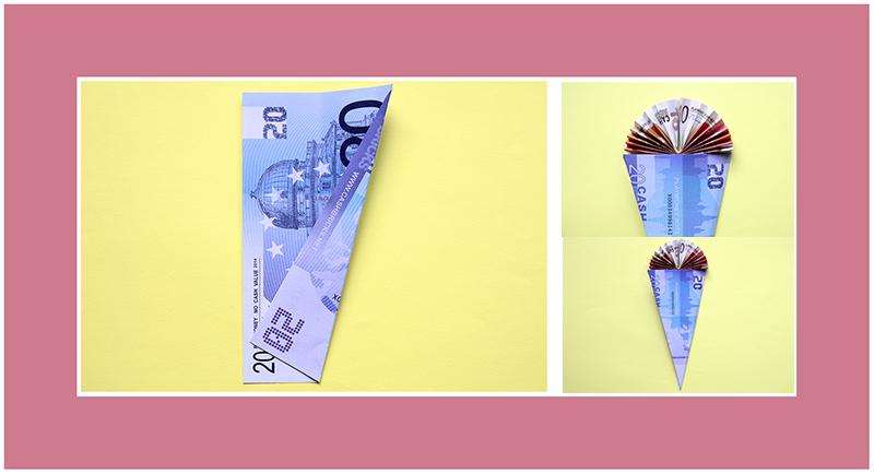 Geldschein falten Schultüte
