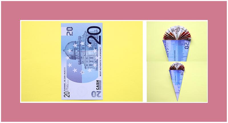 Geldscheine falten Anleitung Schultüte