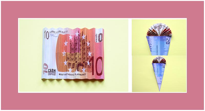Geldscheine falten Fächer