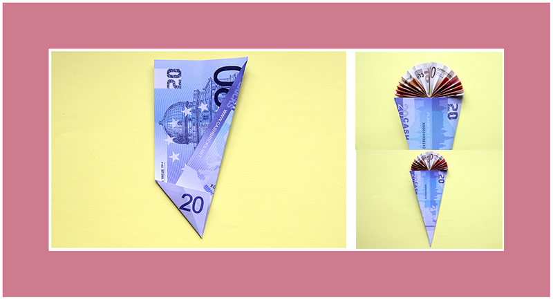 Geldscheine falten für Einschulung