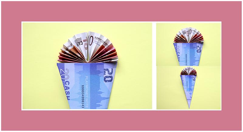 Geldscheine falten Schultüte 2