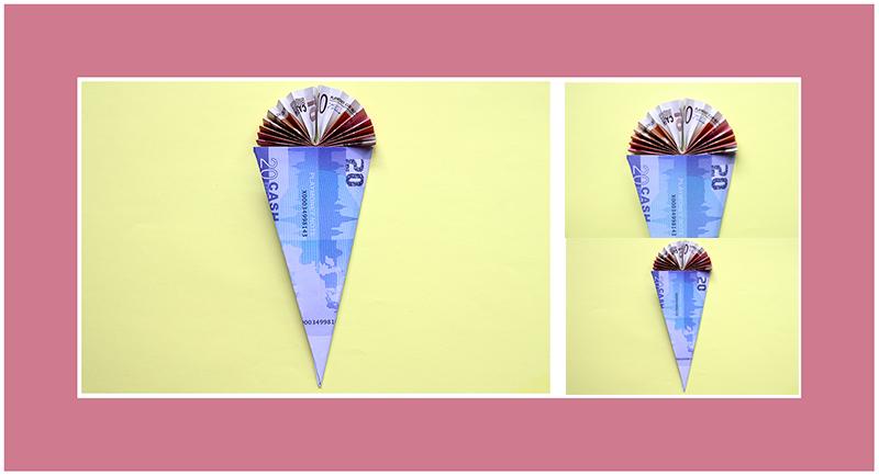 Geldscheine falten Schultüte 3