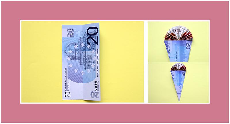 Geldscheine falten Schultüte Anleitung