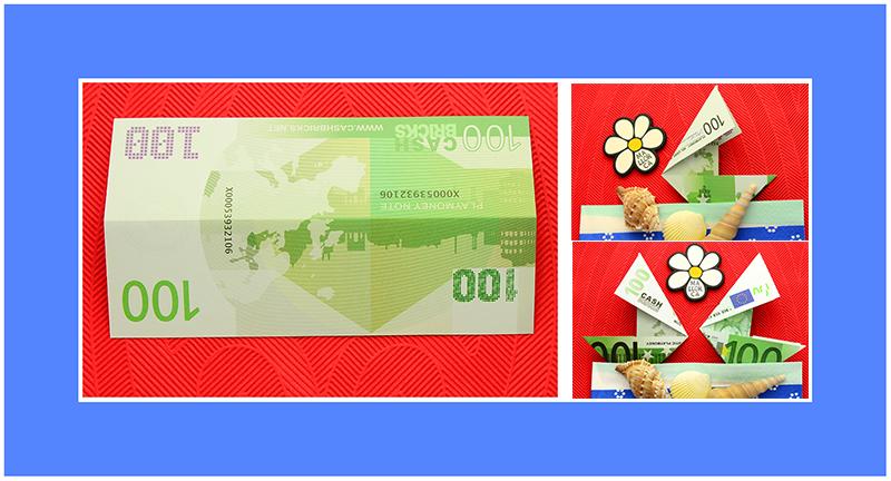 Geldscheine falten Schiff 100 Euro