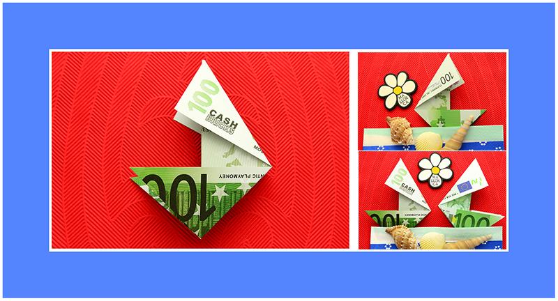 Geldscheine falten Segelschiff 02