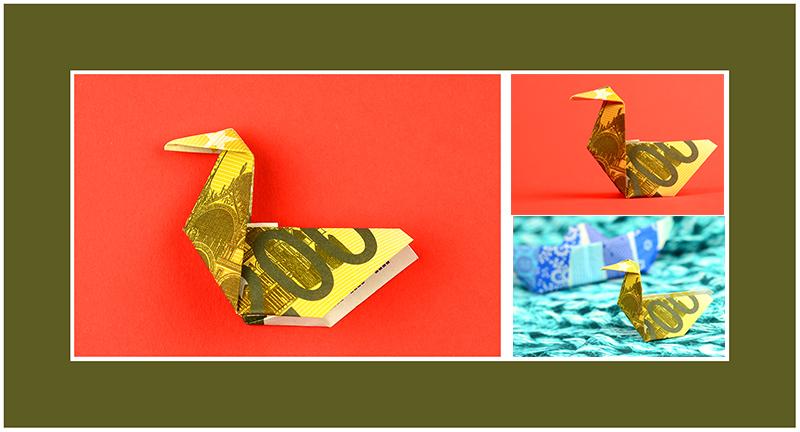 Geldscheine falten Vogel