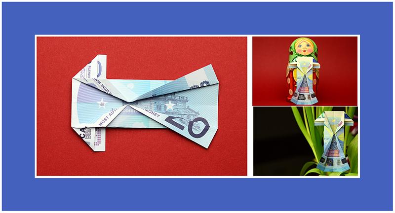 Kleid aus Geldscheinen falten