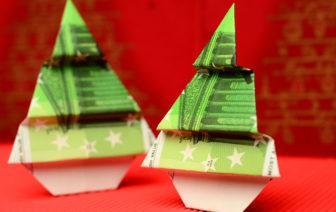 Geldscheine falten Weihnachten Anleitung
