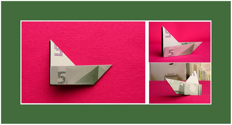 Geldscheine falten Anleitung Schiff schnell