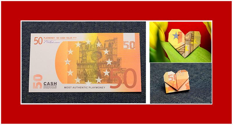 Geldscheine falten Herz 50 Euro