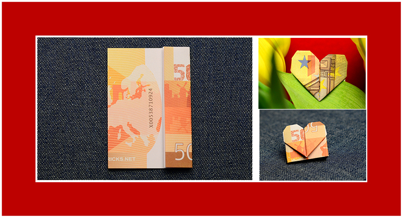Geldscheine falten Valentinstag