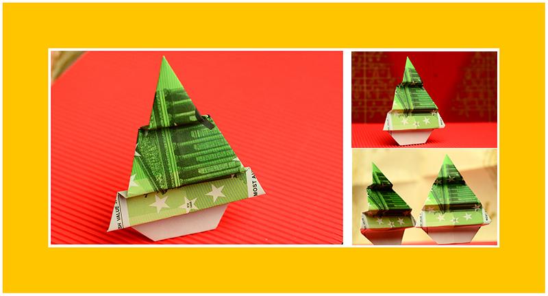 Geldscheine falten Weihnachten Anleitung 01