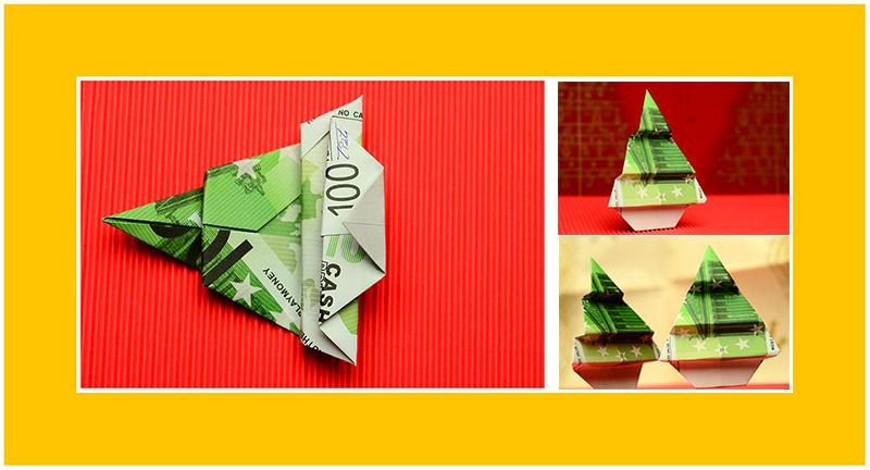 Geldscheine falten zu Weihnachten 17