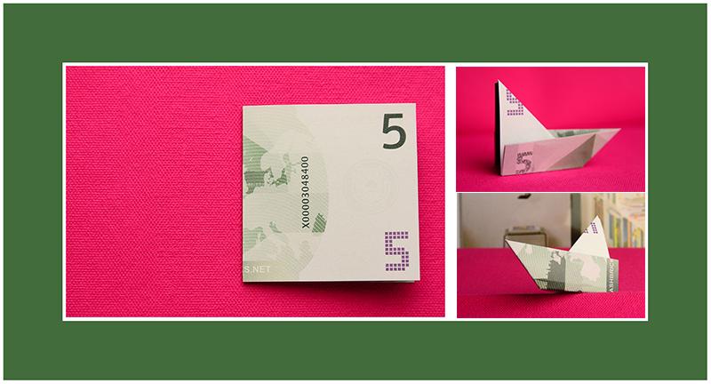 Geldscheine Origami Schiff