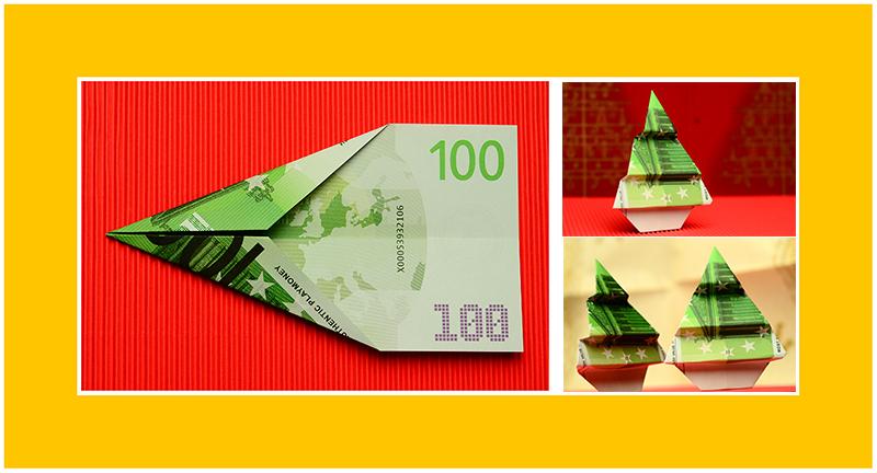 Tannenbaum aus Geld falten