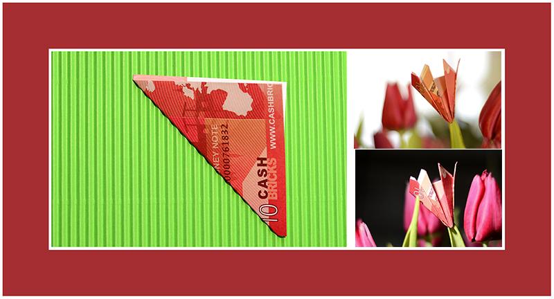 Geldscheine falten Hochzeit Tulpe