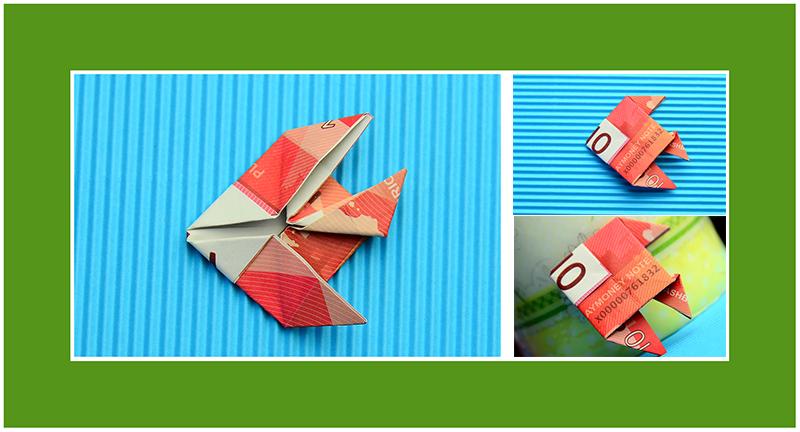 Fisch aus 10 Euro Geldschein falten 02
