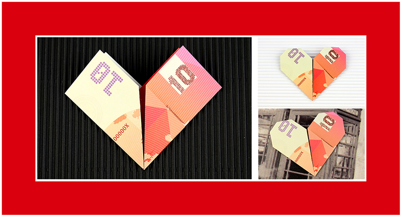 10 Euro zu Herz falten Anleitung