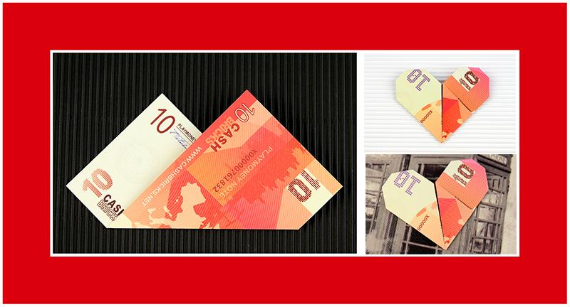 Geldscheine falten Anleitung Herz 021