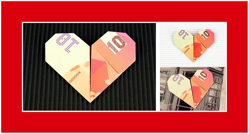 Geldscheine falten Herz 011